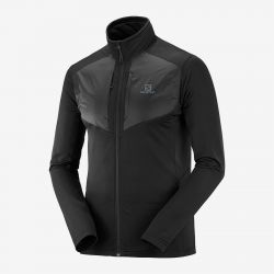 CHAQUETA SALOIMON MONTAÑA GRID FZ MIDLAYER WARM JACKET black